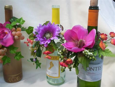 custom made tropical wedding idea centerpieces wine bottle