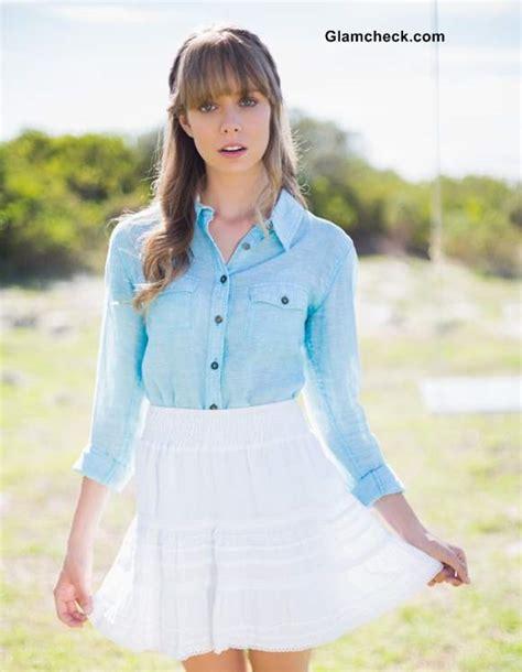 denim shirt with white skirt