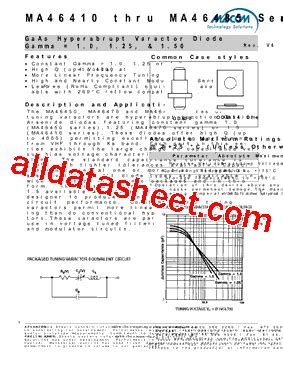 varactor diode gamma ma46450 datasheet pdf m a technology solutions inc