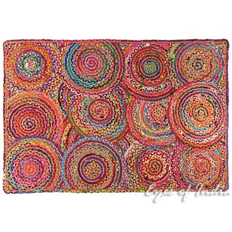 area rag rugs colorful pop boho woven jute chindi braided area