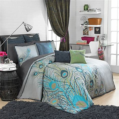 peacock bedding peacock feathers duvet cover set 100 cotton bed bath beyond