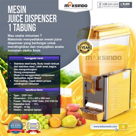 Juice Dispenser Di Bandung jual mesin juice dispenser 1 tabung 15 liter dsp 15x1 di