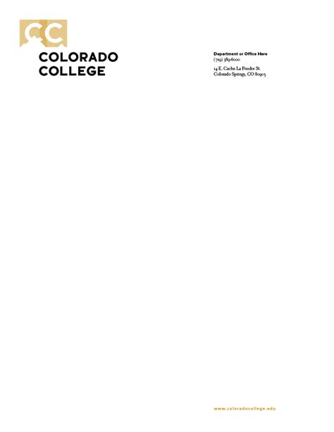 order letterhead communications colorado college