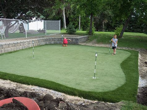 backyard putting green installation artificial turf grass edmonton backyard golf putting