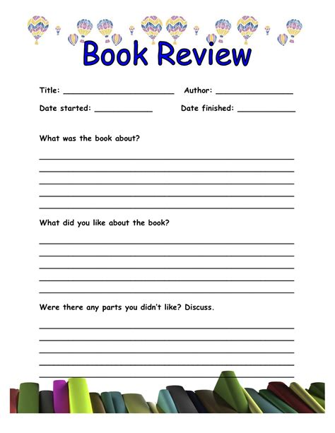 book summary template book review template