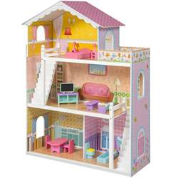 large children s wooden dollhouse fits doll house