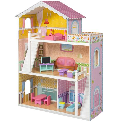 large wooden dolls house large children s wooden dollhouse fits barbie doll house pink with furniture ebay