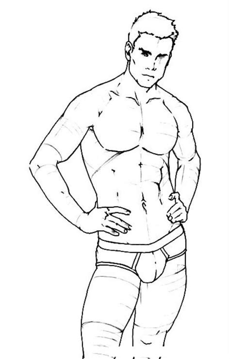 dibujos para nios de hombres para colorear pintar dibujo de hombre atletico y guapo en ropa interior para