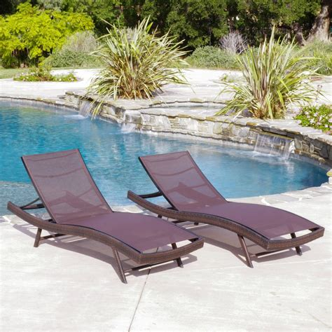 Eliana Set 2 eliana outdoor brown mesh chaise lounge chairs set of 2 great deal furniture