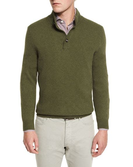 Sweater Rajut Pria Mock Turtleneck Green 1 ermenegildo zegna yak mock neck button sweater green neiman