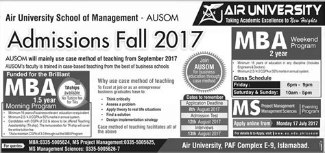 Mba Admission In Islamabad by Admission Open In Air Islamabad 16 July 2017