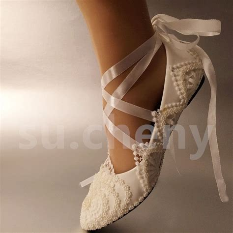 Wedding Shoes Size 5 by White Ivory Pearls Lace Wedding Shoes Flat