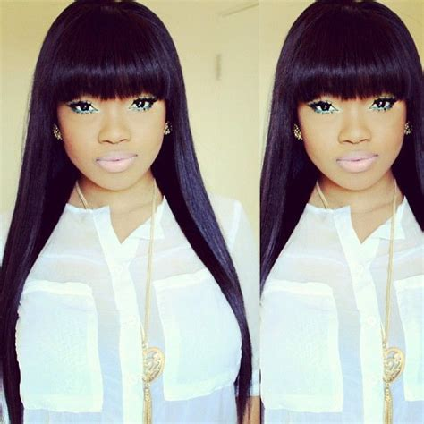 straight weave on pinterest straight weave hairstyles with side bangs google search