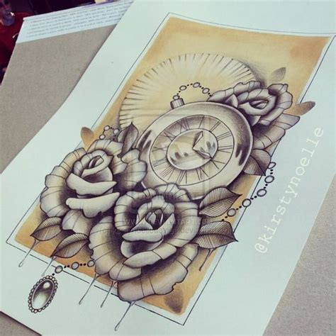pocket watch and rose drawing art pinterest watches