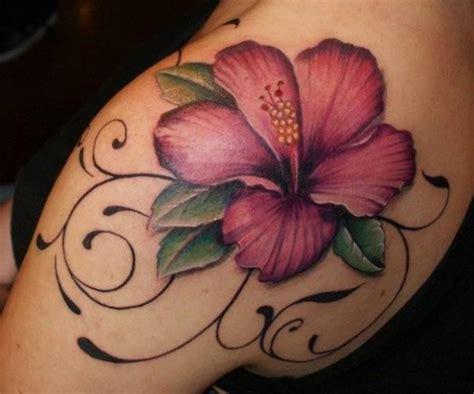 coole realistische bunte magnolie blume tattoo an der