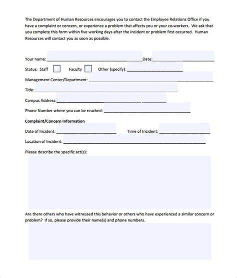 complaint card template customer complaint form template word templates data