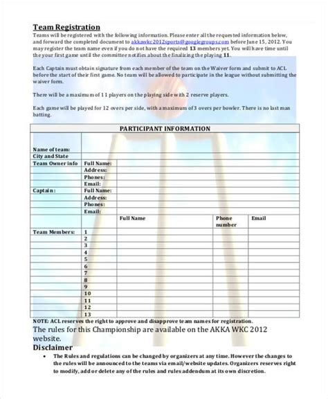 8 team registration form sles free sle exle