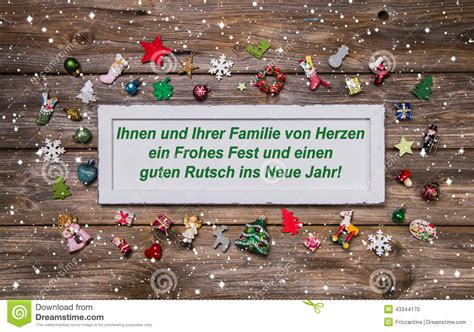 christmas card  colorful decoration  german text merry ch stock photo image