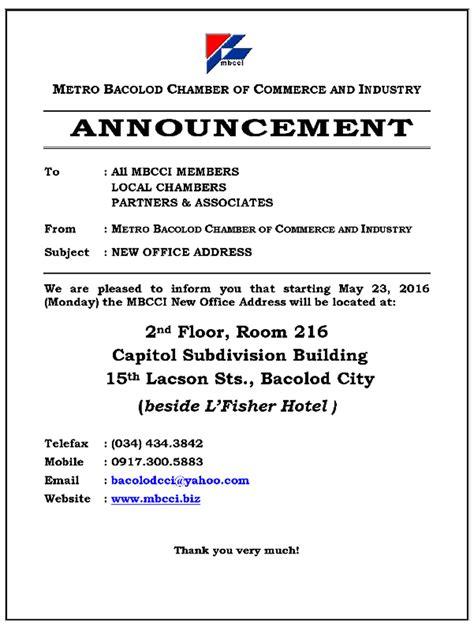 Office Address mbcci new office address metro bacolod chamber of