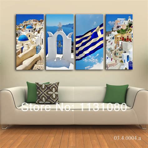 no frame canvas only 4pieces white blue santorini in