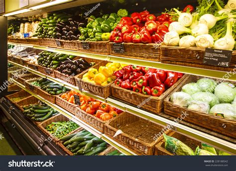 vegetable section vegetable section in the department store stock image