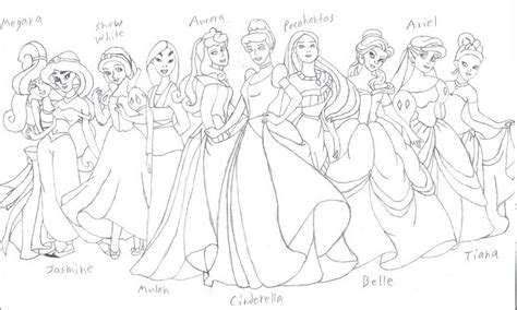 Disney Princess Group Coloring Pages For Point 479901 Detailed Princess Coloring Pages Printable