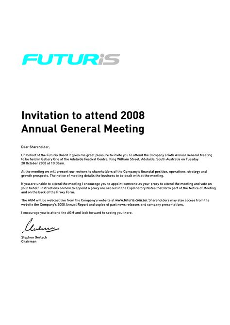 Invitation Letter For Agm Meeting Best Photos Of Invitation To Attend A Meeting Sle Invitation To Attend Meeting Sle