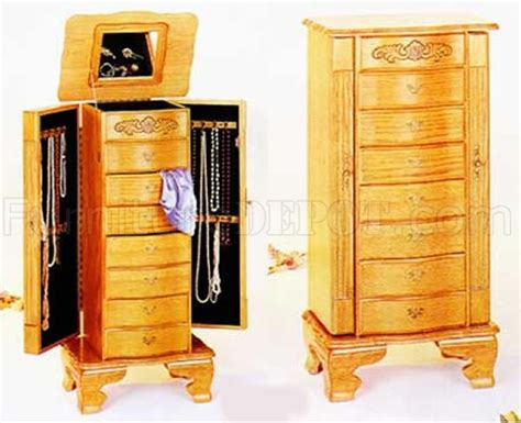 lighted jewelry armoire light oak finish stylish deluxe jewelry armoire