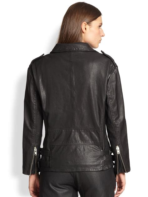 perforated leather motorcycle jacket lyst oak perforated leather biker jacket in black