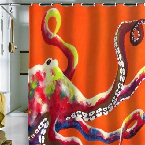 octupus shower curtain clara nilles jeweled octopus on tangerine shower curtain