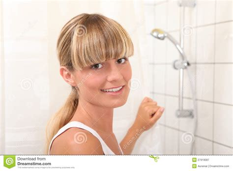 bathroom blonde blonde woman in bathroom royalty free stock photography