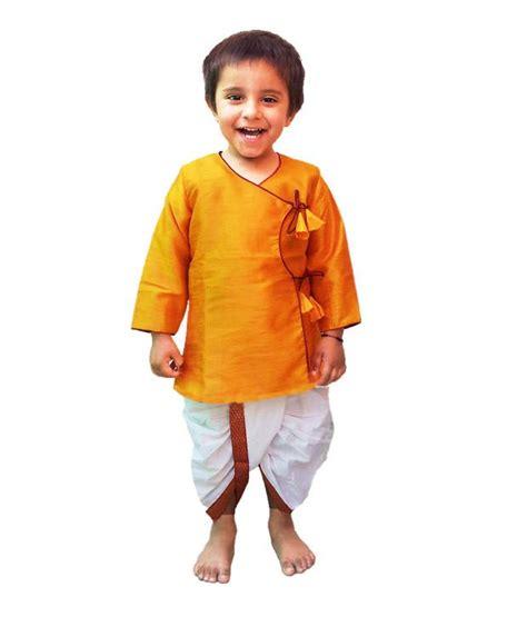 dhoti pattern kurti online dotnditto yellow white angrakha dhoti kurta for kids