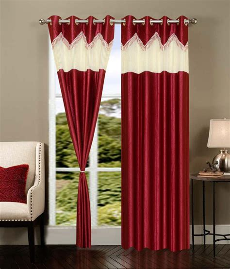 red and cream curtains vugis red cream plain polyester door curtain set of 2