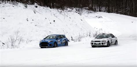 subaru impreza in snow 2016 ford focus rs pitted against rally grade subaru