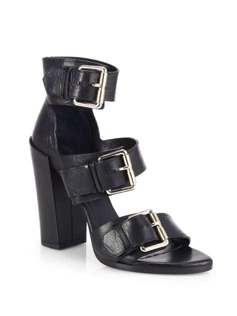 proenza schouler sandals proenza schouler leather buckle sandals in black lyst