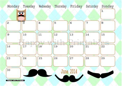 owl calendar template happywithprintables calendar june 2014 printable