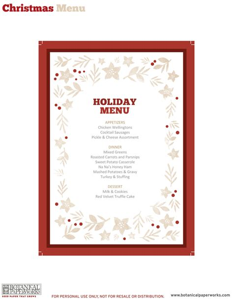 5 best images of free printable christmas dinner menu