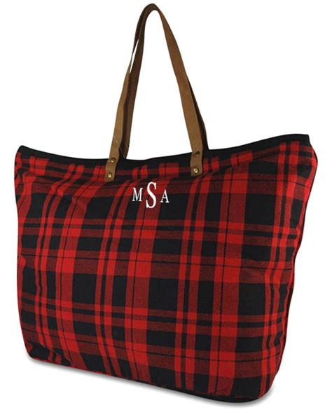 monogrammed plaid tote bag