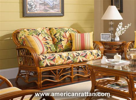 And Loveseat by Palm Harbor Indoor Rattan And Wicker Loveseat By