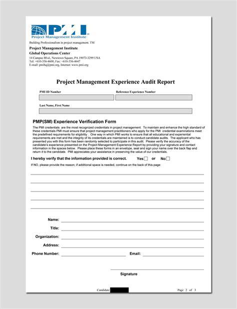 Pmi Pmp Audit Process The Definitive Pmp Guide Pmp Application Template
