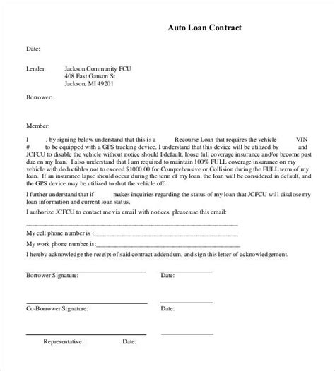 auto loan agreement template free 26 great loan agreement template