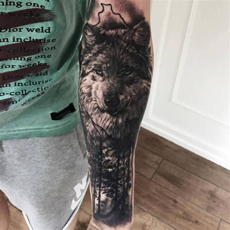 wolf forest tattoo black and grey wolf and nature by theshark