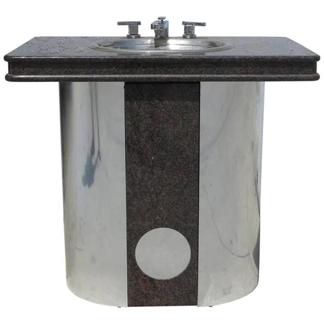 Stainless Steel Bathroom Vanity Top by Vintage Sherle Wagner Vanity Sink Black Granite Top With Stainless Steel Base For Sale At 1stdibs