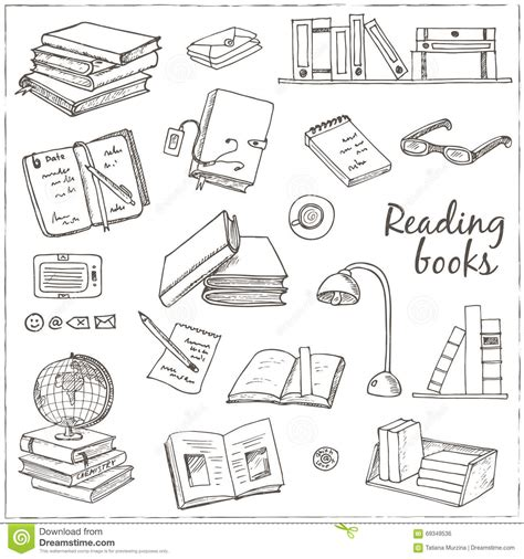 read doodle doodle books reading set stock vector image
