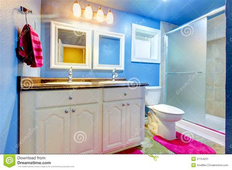 blue kids bathroom kids bathroom with blue walls and pink stock image image 27154231