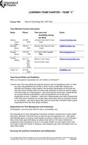 team charter template sle learning team charter coursetitle psy300 teammembers