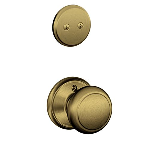 Shop Schlage Andover 1 5 8 In To 1 3 4 In Antique Brass Keyed Interior Door Knob