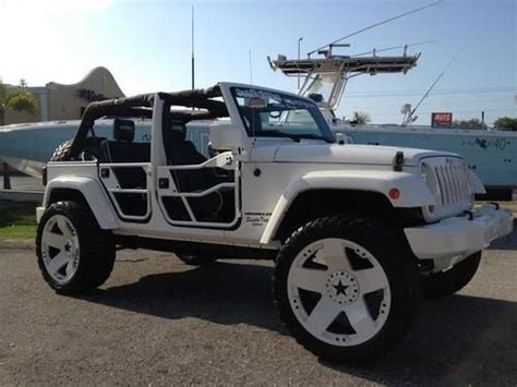 jeep wrangler white 4 door custom buy used 2007 4 door jeep wrangler custom 24rims lifted