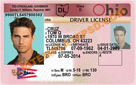ohio drivers license template best photos of ohio id template ohio driver s license
