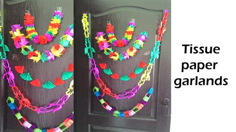 How To Make Paper Garland Decorations - five diy tissue paper garland diy decoration doovi